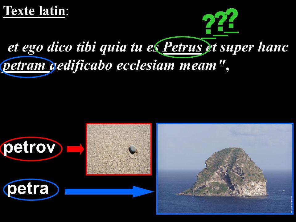 Texte latin: et ego dico tibi quia tu es Petrus et super hanc petram aedificabo ecclesiam meam
