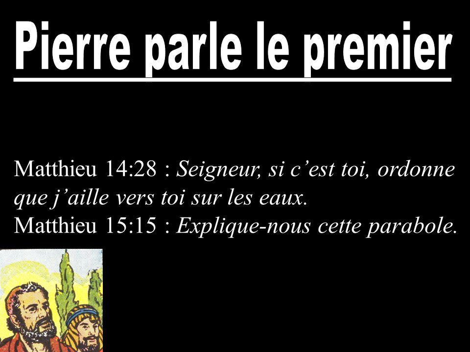 Matthieu 14:28 : Seigneur, si cest toi, ordonne que jaille vers toi sur les eaux. Matthieu 15:15 : Explique-nous cette parabole.