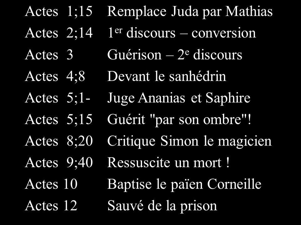Actes 1;15 Actes 2;14 Actes 3 Actes 4;8 Actes 5;1- Actes 5;15 Actes 8;20 Actes 9;40 Actes 10 Actes 12 Remplace Juda par Mathias 1 er discours – conver