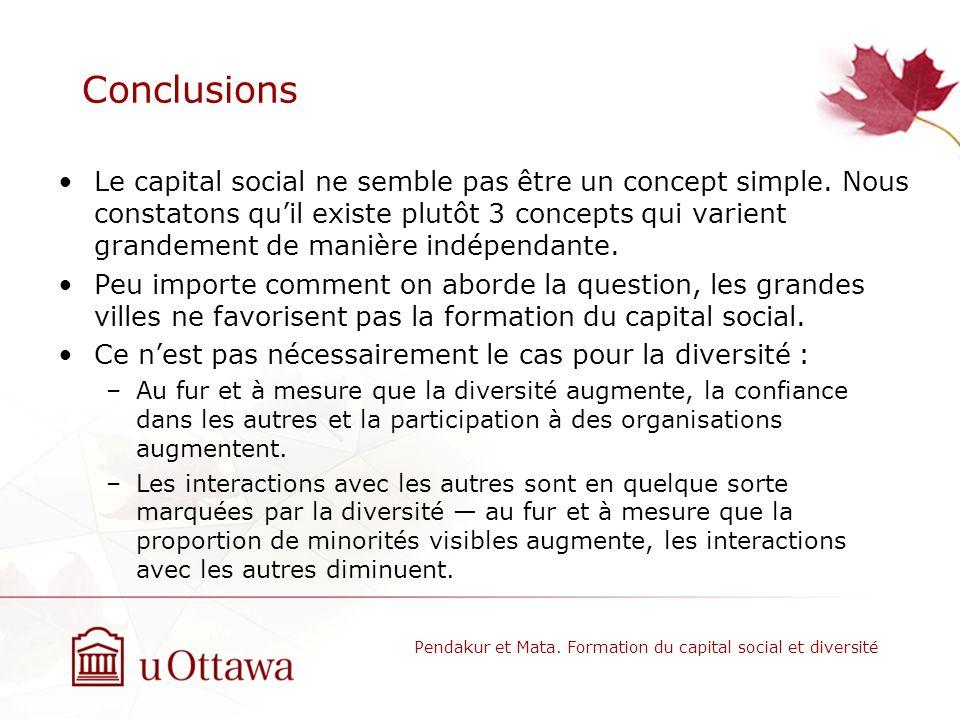 Conclusions Le capital social ne semble pas être un concept simple. Nous constatons quil existe plutôt 3 concepts qui varient grandement de manière in