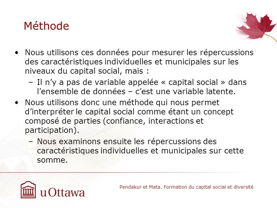 Méthode Nous utilisons ces données pour mesurer les répercussions des caractéristiques individuelles et municipales sur les niveaux du capital social, mais : –Il ny a pas de variable appelée « capital social » dans lensemble de données – cest une variable latente.