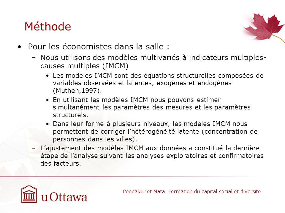 Méthode Pour les économistes dans la salle : –Nous utilisons des modèles multivariés à indicateurs multiples- causes multiples (IMCM) Les modèles IMCM sont des équations structurelles composées de variables observées et latentes, exogènes et endogènes (Muthen,1997).