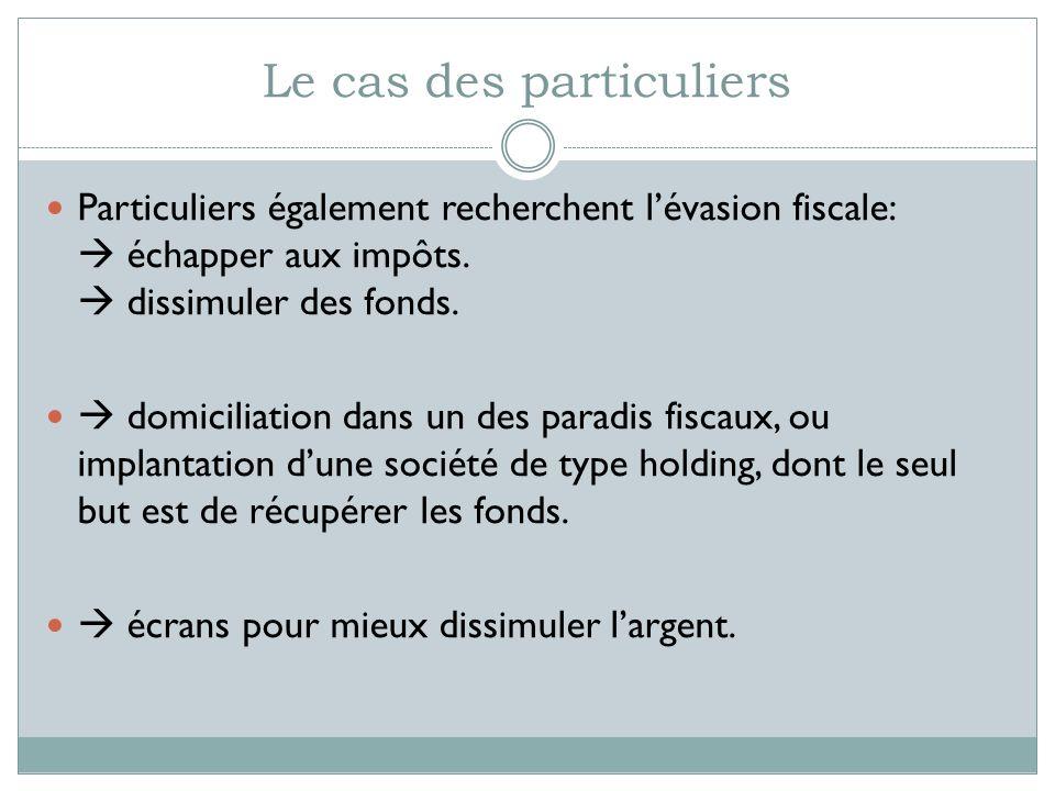 Le cas des particuliers Particuliers également recherchent lévasion fiscale: échapper aux impôts. dissimuler des fonds. domiciliation dans un des para