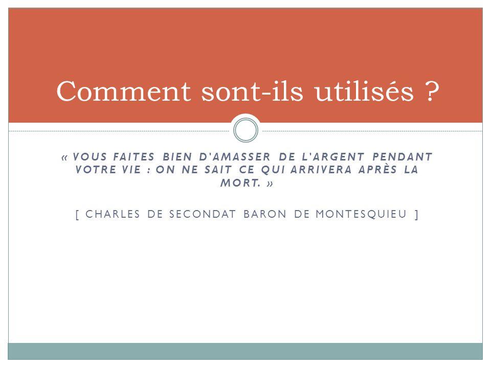 « VOUS FAITES BIEN D'AMASSER DE L'ARGENT PENDANT VOTRE VIE : ON NE SAIT CE QUI ARRIVERA APRÈS LA MORT. » [ CHARLES DE SECONDAT BARON DE MONTESQUIEU ]