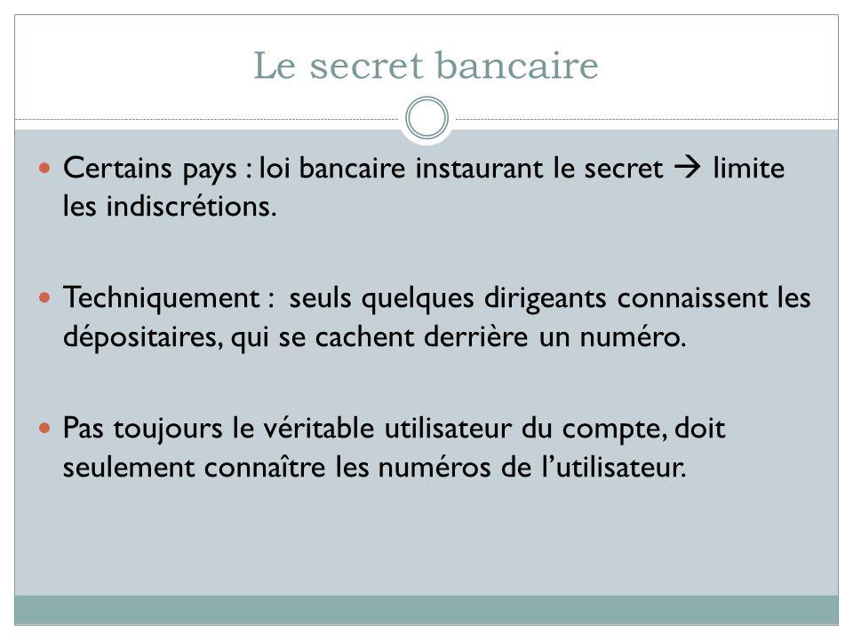 Le secret bancaire Certains pays : loi bancaire instaurant le secret limite les indiscrétions. Techniquement : seuls quelques dirigeants connaissent l