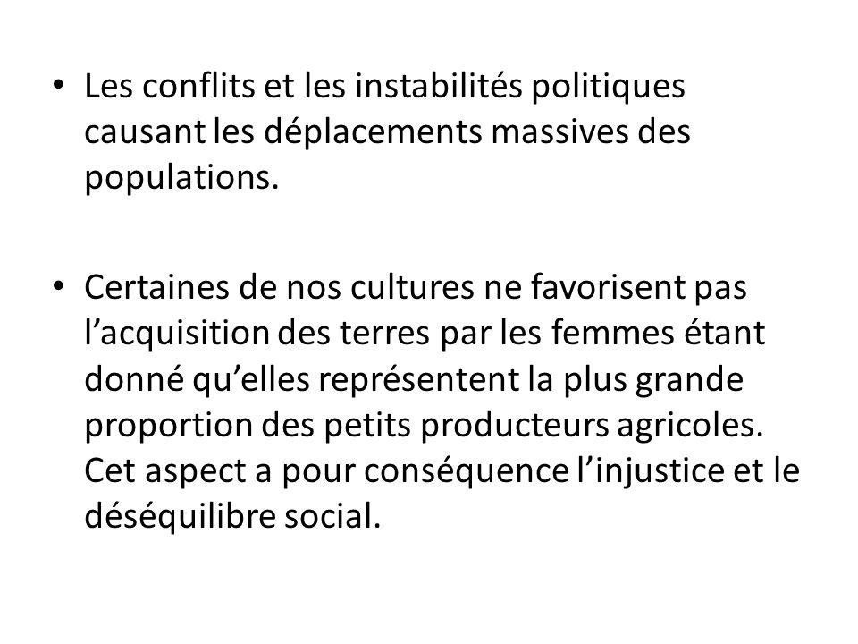 Les conflits et les instabilités politiques causant les déplacements massives des populations.