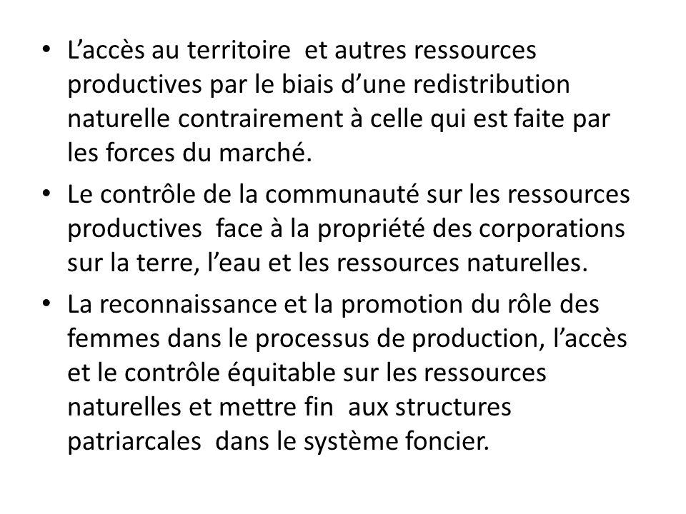 Laccès au territoire et autres ressources productives par le biais dune redistribution naturelle contrairement à celle qui est faite par les forces du marché.