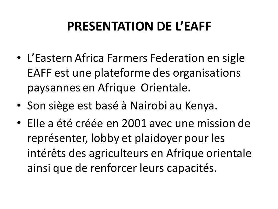 PRESENTATION DE LEAFF LEastern Africa Farmers Federation en sigle EAFF est une plateforme des organisations paysannes en Afrique Orientale.