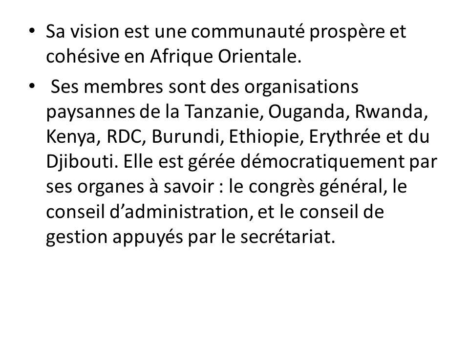 Sa vision est une communauté prospère et cohésive en Afrique Orientale.