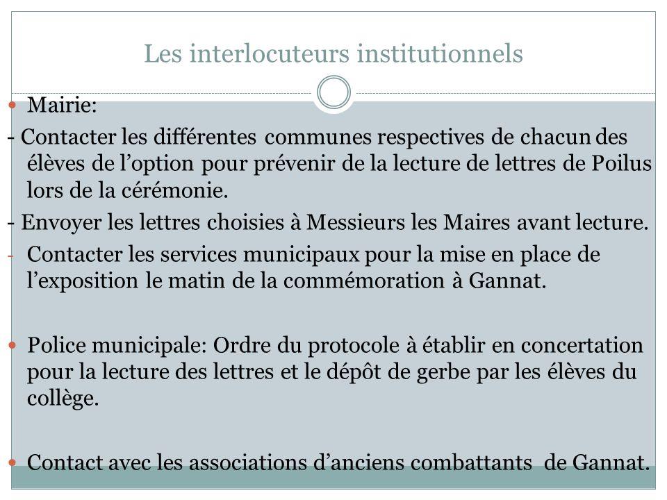 Les interlocuteurs institutionnels Mairie: - Contacter les différentes communes respectives de chacun des élèves de loption pour prévenir de la lectur