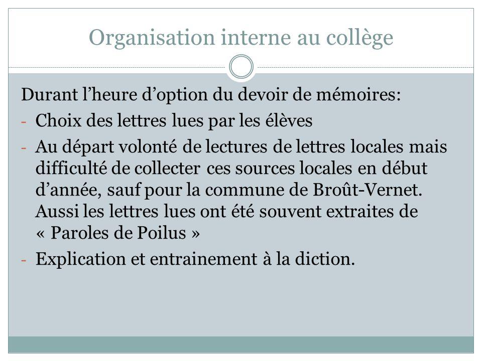 Organisation interne au collège Durant lheure doption du devoir de mémoires: - Choix des lettres lues par les élèves - Au départ volonté de lectures d