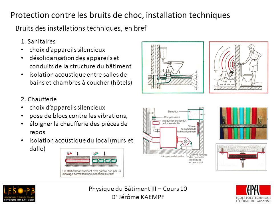 Bruits des installations techniques, en bref Physique du Bâtiment III – Cours 10 D r Jérôme KAEMPF 1.