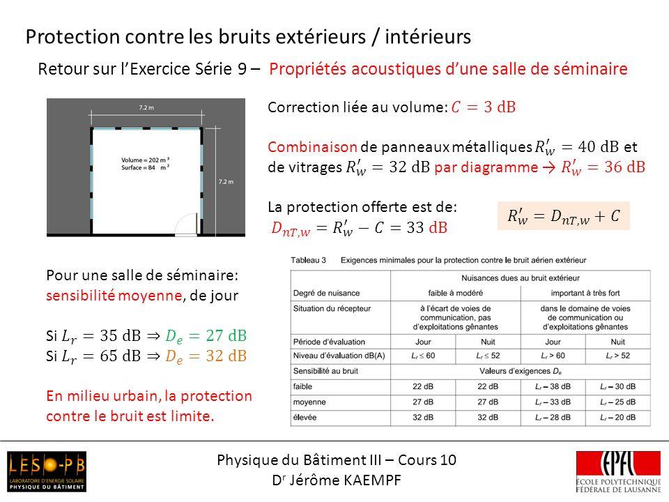 Bruits de chocs – Exemple Physique du Bâtiment III – Cours 10 D r Jérôme KAEMPF Protection contre les bruits de choc, installation techniques