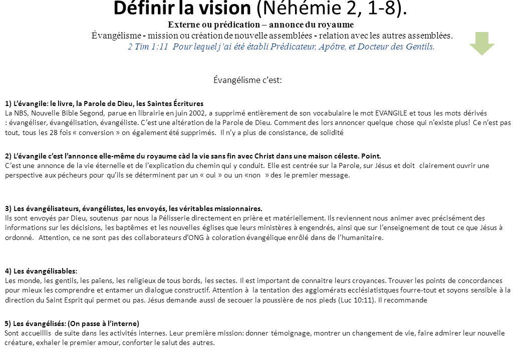 Définir la vision (Néhémie 2, 1-8). Évangélisme cest: 5) Les évangélisés: (On passe à linterne) Sont accueillis de suite dans les activités internes.
