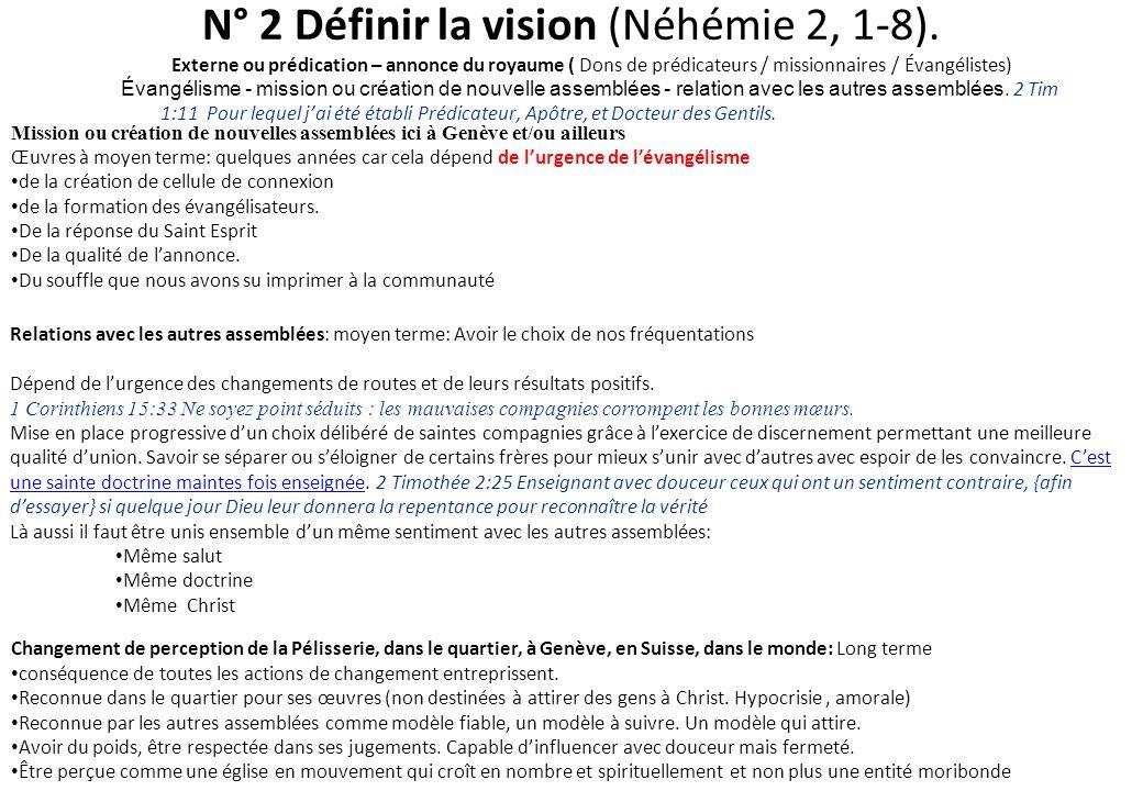N° 2 Définir la vision (Néhémie 2, 1-8). Externe ou prédication – annonce du royaume ( Dons de prédicateurs / missionnaires / Évangélistes) Évangélism
