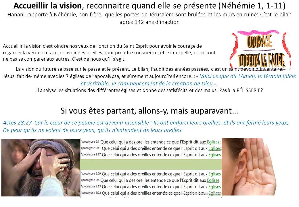 Accueillir la vision, reconnaitre quand elle se présente (Néhémie 1, 1-11) Hanani rapporte à Néhémie, son frère, que les portes de Jérusalem sont brul