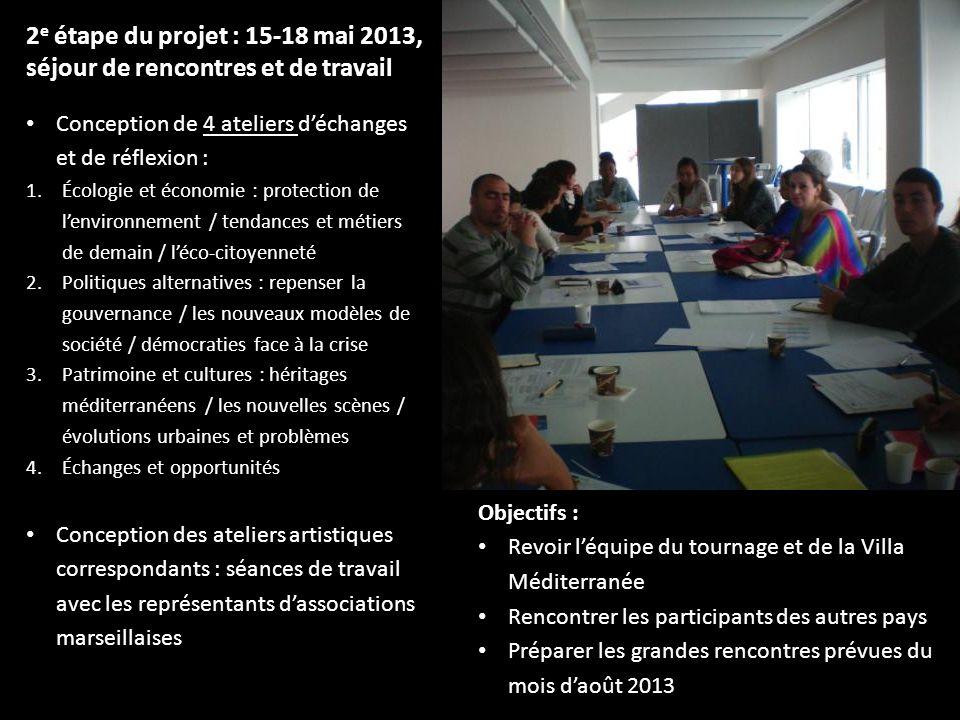 2 e étape du projet : 15-18 mai 2013, séjour de rencontres et de travail Conception de 4 ateliers déchanges et de réflexion : 1.Écologie et économie :