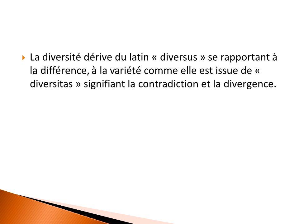La diversité dérive du latin « diversus » se rapportant à la différence, à la variété comme elle est issue de « diversitas » signifiant la contradiction et la divergence.