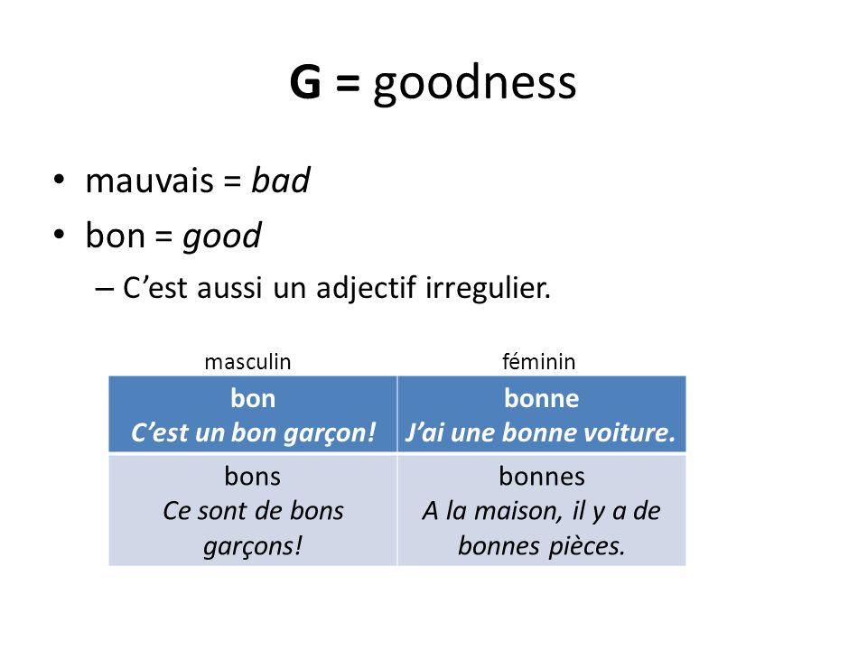 G = goodness mauvais = bad bon = good – Cest aussi un adjectif irregulier. masculin féminin bon Cest un bon garçon! bonne Jai une bonne voiture. bons