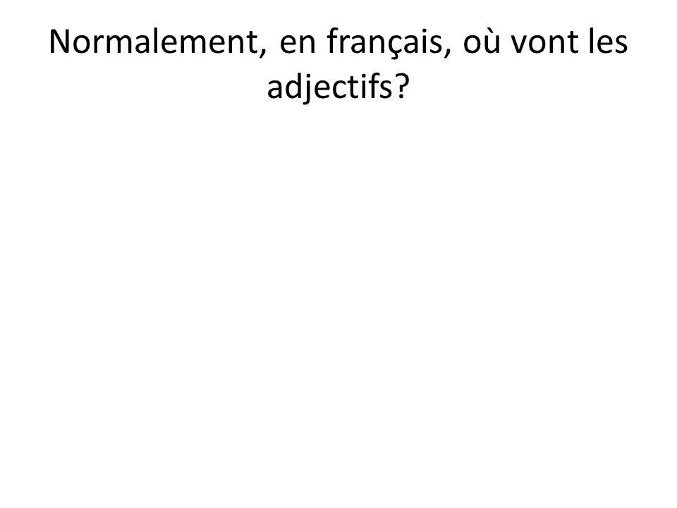 Normalement, en français, où vont les adjectifs?