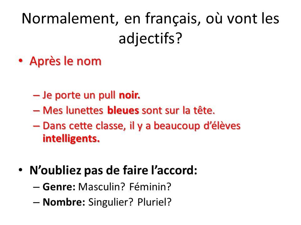 Après le nom Après le nom – Je porte un pull noir. – Mes lunettes bleues sont sur la tête. – Dans cette classe, il y a beaucoup délèves intelligents.