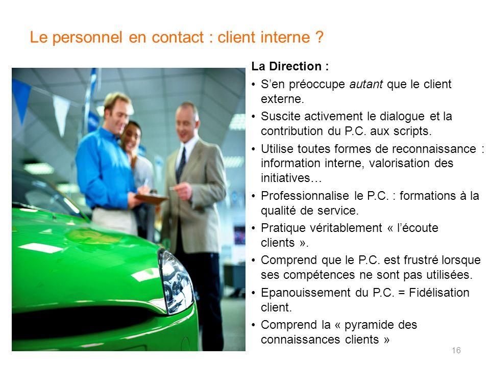 Le personnel en contact : client interne ? La Direction : Sen préoccupe autant que le client externe. Suscite activement le dialogue et la contributio
