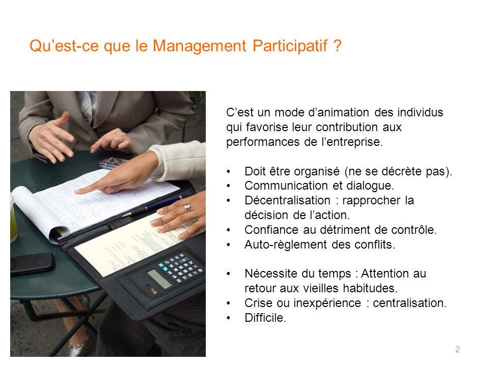Quest-ce que le Management Participatif ? Cest un mode danimation des individus qui favorise leur contribution aux performances de lentreprise. Doit ê