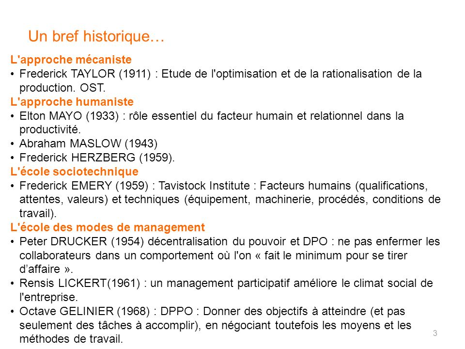 Un bref historique… L'approche mécaniste Frederick TAYLOR (1911) : Etude de l'optimisation et de la rationalisation de la production. OST. L'approche