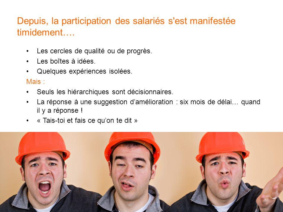 Depuis, la participation des salariés s'est manifestée timidement…. Les cercles de qualité ou de progrès. Les boîtes à idées. Quelques expériences iso