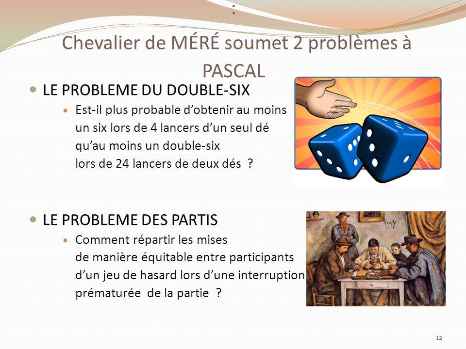 : Chevalier de MÉRÉ soumet 2 problèmes à PASCAL LE PROBLEME DU DOUBLE-SIX Est-il plus probable dobtenir au moins un six lors de 4 lancers dun seul dé quau moins un double-six lors de 24 lancers de deux dés .