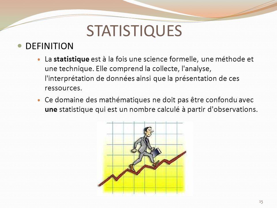 STATISTIQUES DEFINITION La statistique est à la fois une science formelle, une méthode et une technique.