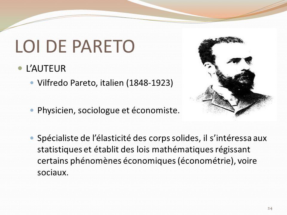LOI DE PARETO LAUTEUR Vilfredo Pareto, italien (1848-1923) Physicien, sociologue et économiste.
