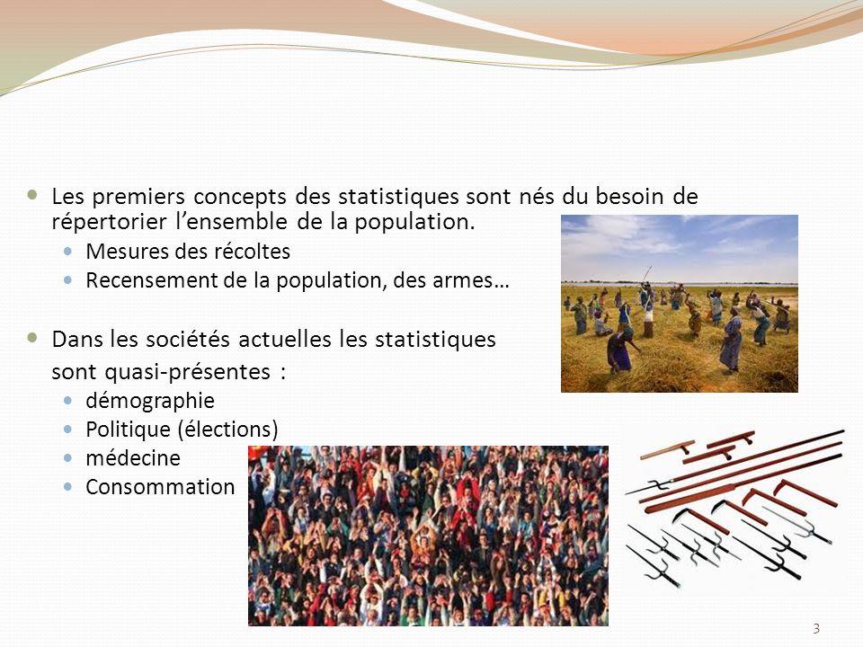 Les premiers concepts des statistiques sont nés du besoin de répertorier lensemble de la population.
