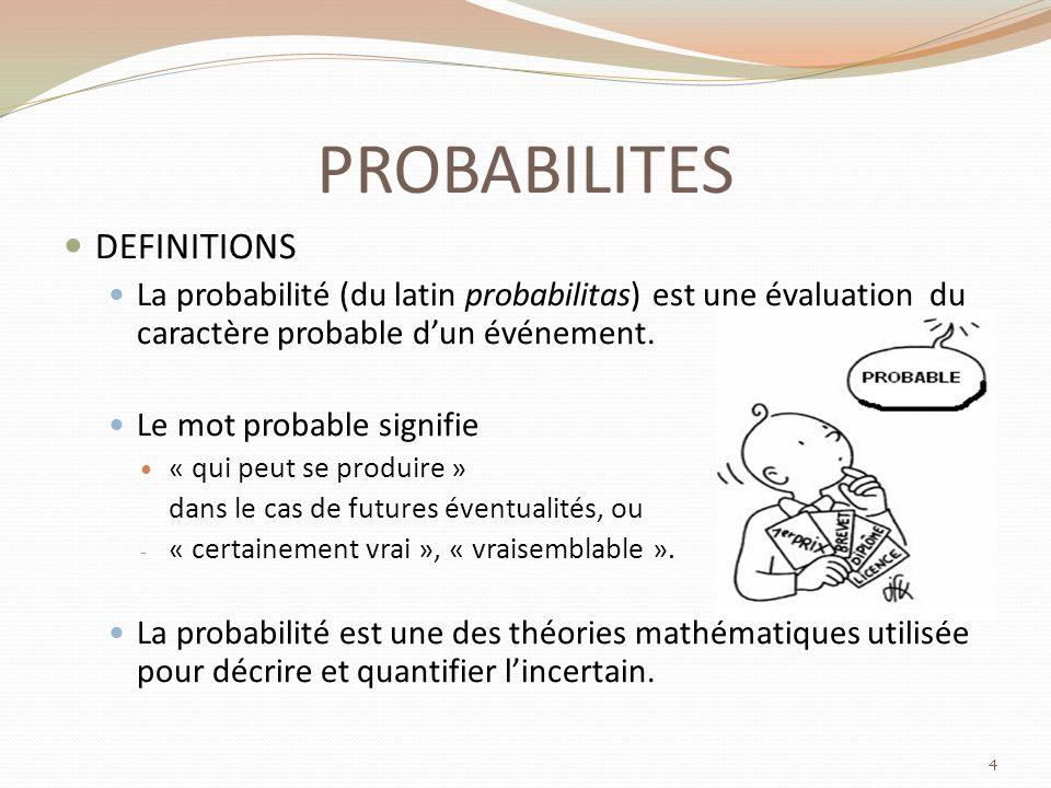 PROBABILITES DEFINITIONS La probabilité (du latin probabilitas) est une évaluation du caractère probable dun événement.