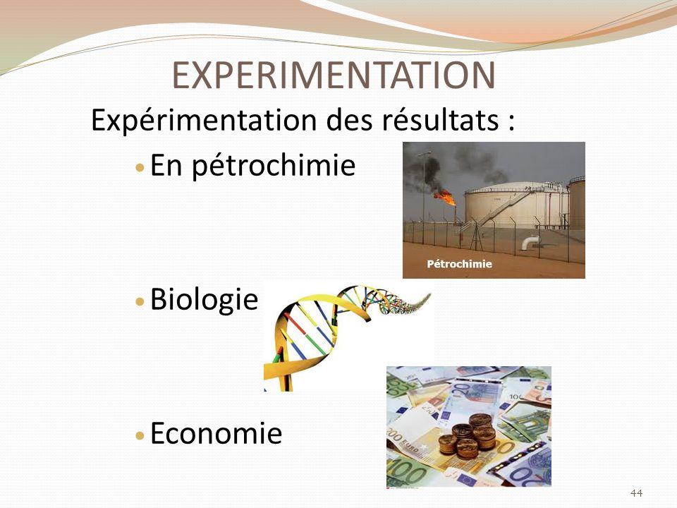 EXPERIMENTATION Expérimentation des résultats : En pétrochimie Biologie Economie 44