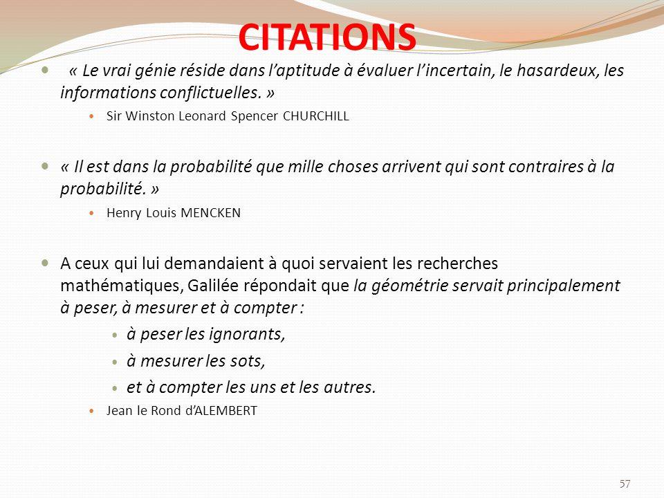 CITATIONS « Le vrai génie réside dans laptitude à évaluer lincertain, le hasardeux, les informations conflictuelles.