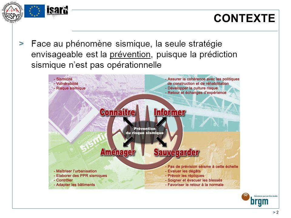 > 3 >Au niveau du massif Pyrénéen, zone sismique avérée, en contexte transfrontalier, le manque dharmonisation constaté en matière de connaissance notamment a incité les programmes ISARD et SISPYR >Programmes supportés par lUE au travers des programmes opérationnels INTERREG III et IVA France-Espagne-Andorre >Projets portés par des partenariats scientifiques forts depuis 2003 >Contribution à lamélioration de la gestion du risque sismique au sens large à tous les niveaux de la chaîne de prévention >Développements et échanges en contexte transfrontalier CONTEXTE
