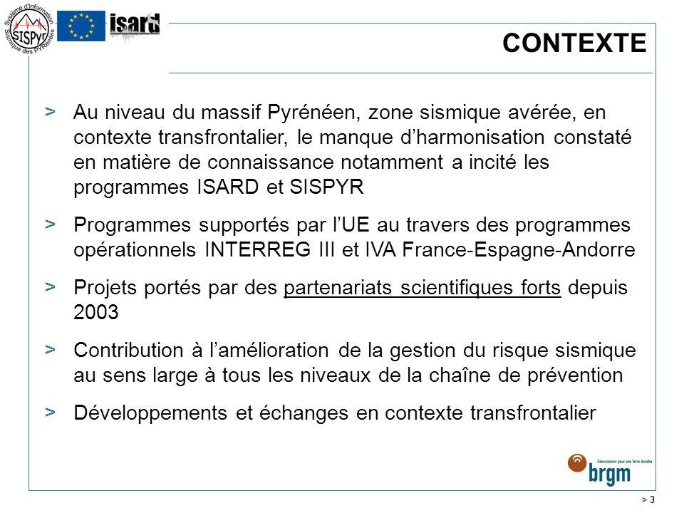 > 4 CONTEXTE 2003 2008 2012 > CONNAITRE : zonage sismique transfrontalier et unifié de tous les Pyrénées & proposition de scénarios de dommages sismiques sur 2 zones pilote – Andorre et Cerdagne > SAUVEGARDER : démonstration de faisabilité d un système automatique rapide destimation de dommages après un tremblement de terre > INFORMER : site web ( www.isard-project.eu ) et restitution sur les travaux www.isard-project.eu > CONNAITRE : mise en commun et partage des données des réseaux dobservation sismiques, études des sources sismiques & scénarios sur zone pilote Val dAran-Luchonnais > SAUVEGARDER : développement de shake-map et démonstration de faisabilité d un système dalerte précoce > INFORMER : site web ( www.sipyr.eu ) et restitution sur les travaux www.sipyr.eu Démonstrateur pour le déploiement en temps réel de notes renseignées sur en cas de séisme Partage des données des réseaux et production dinformation rapide (Shakemaps, EWS)