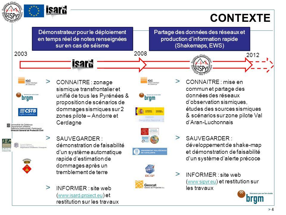 > 4 CONTEXTE 2003 2008 2012 > CONNAITRE : zonage sismique transfrontalier et unifié de tous les Pyrénées & proposition de scénarios de dommages sismiq