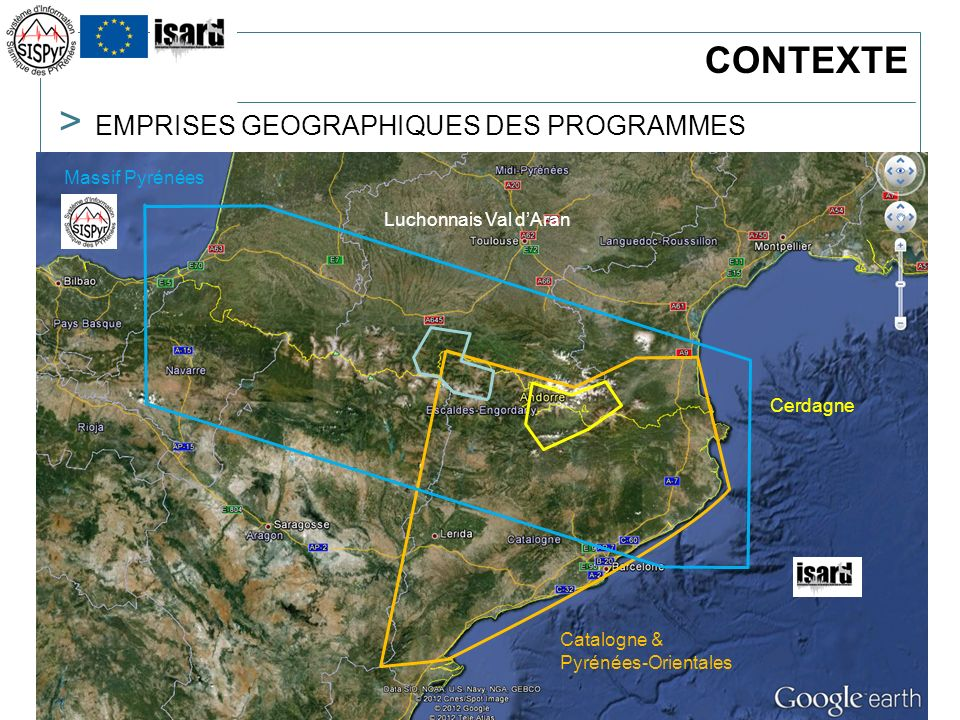 > 5Réunion ORSEC-séismes / Bordeaux : 5 avril 2012 > 5 > EMPRISES GEOGRAPHIQUES DES PROGRAMMES Zone « Pyrénées » => shake map Zones pilotes => risque