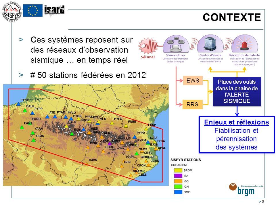 > 8 CONTEXTE >Ces systèmes reposent sur des réseaux dobservation sismique … en temps réel ># 50 stations fédérées en 2012 EWS RRS Place des outils dan