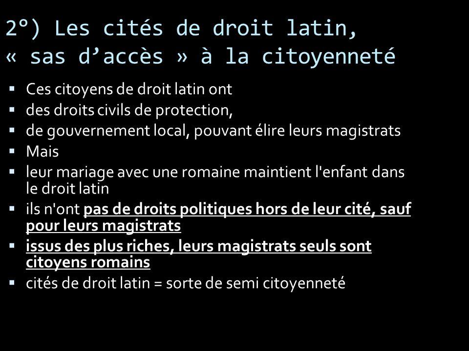 2°) Les cités de droit latin, « sas daccès » à la citoyenneté Ces citoyens de droit latin ont des droits civils de protection, de gouvernement local,