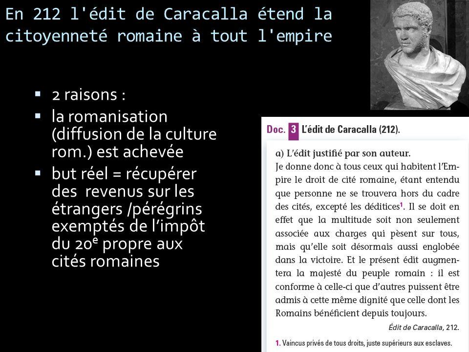 En 212 l'édit de Caracalla étend la citoyenneté romaine à tout l'empire 2 raisons : la romanisation (diffusion de la culture rom.) est achevée but rée