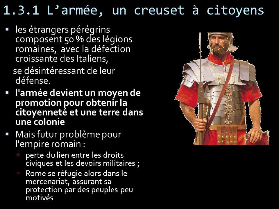 1.3.1 Larmée, un creuset à citoyens les étrangers pérégrins composent 50 % des légions romaines, avec la défection croissante des Italiens, se désinté