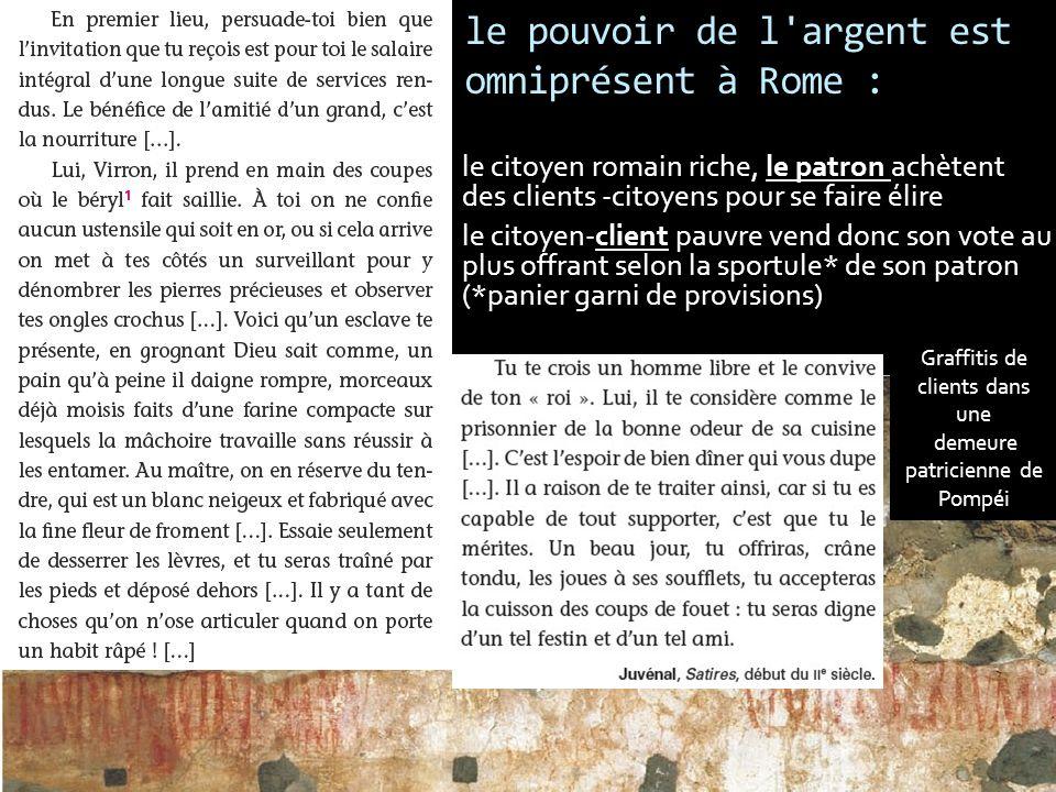 le pouvoir de l'argent est omniprésent à Rome : le citoyen romain riche, le patron achètent des clients -citoyens pour se faire élire le citoyen-clien