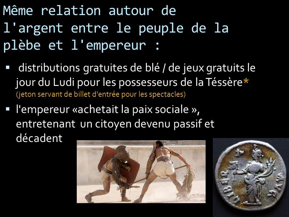 Même relation autour de l'argent entre le peuple de la plèbe et l'empereur : distributions gratuites de blé / de jeux gratuits le jour du Ludi pour le