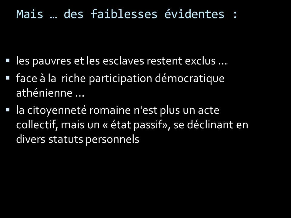 Mais … des faiblesses évidentes : les pauvres et les esclaves restent exclus … face à la riche participation démocratique athénienne … la citoyenneté