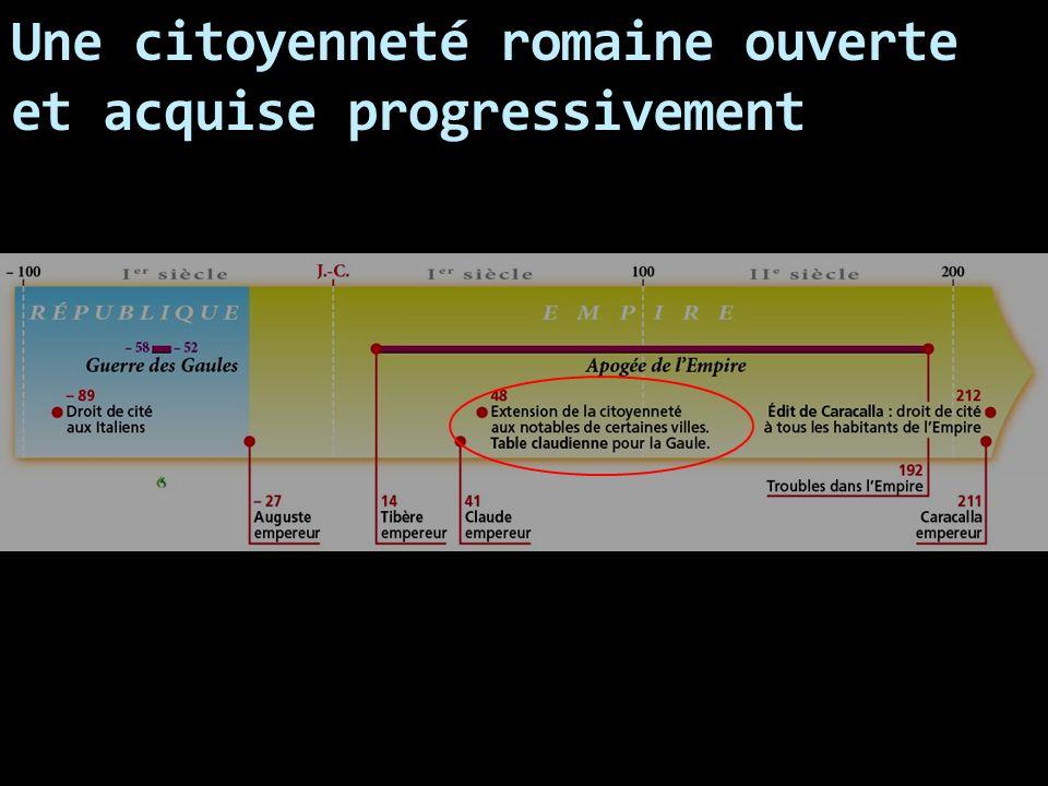 Une citoyenneté romaine ouverte et acquise progressivement