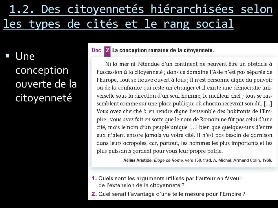 1.2. Des citoyennetés hiérarchisées selon les types de cités et le rang social Une conception ouverte de la citoyenneté
