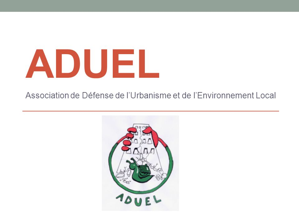 ADUEL Association de Défense de lUrbanisme et de lEnvironnement Local